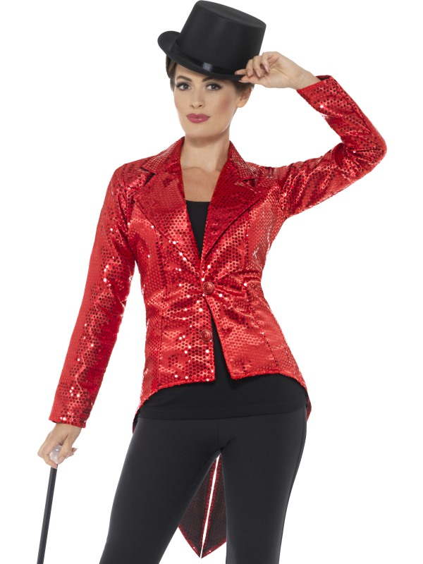 Sequin Tailcoat Jacket, Dames Rood