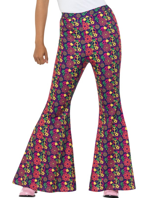60s Psychedelic CND Flared Trousers, Dames