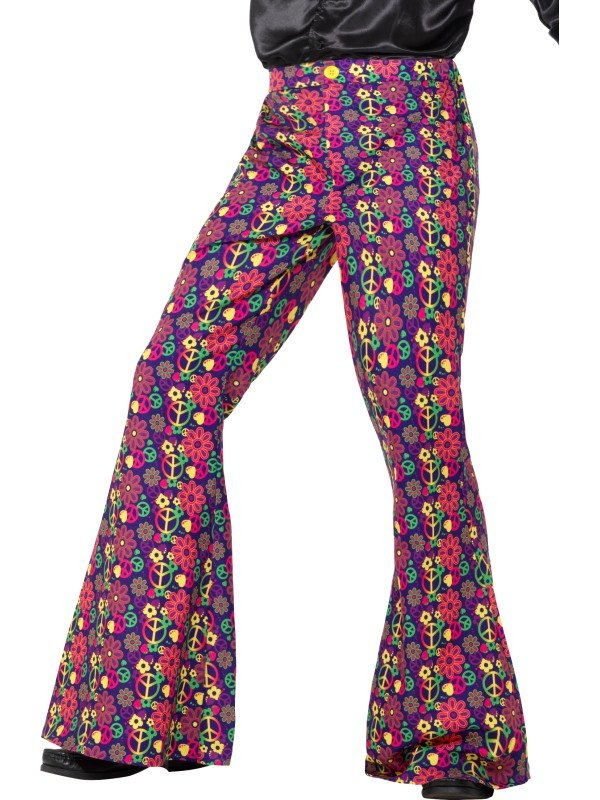 60s Psychedelic CND Flared Trousers, Heren