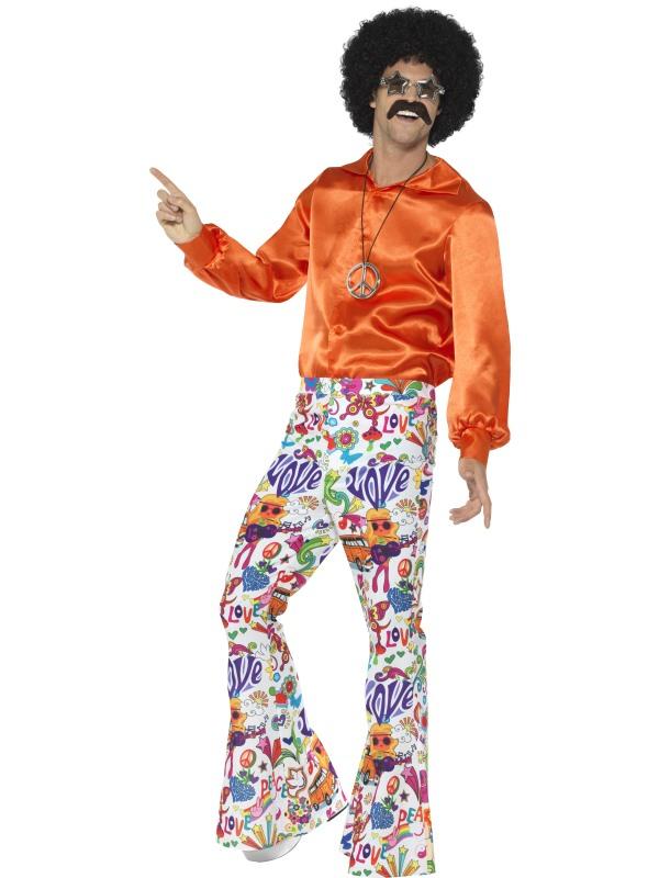 60s Groovy Flared Trousers Oranje, Heren