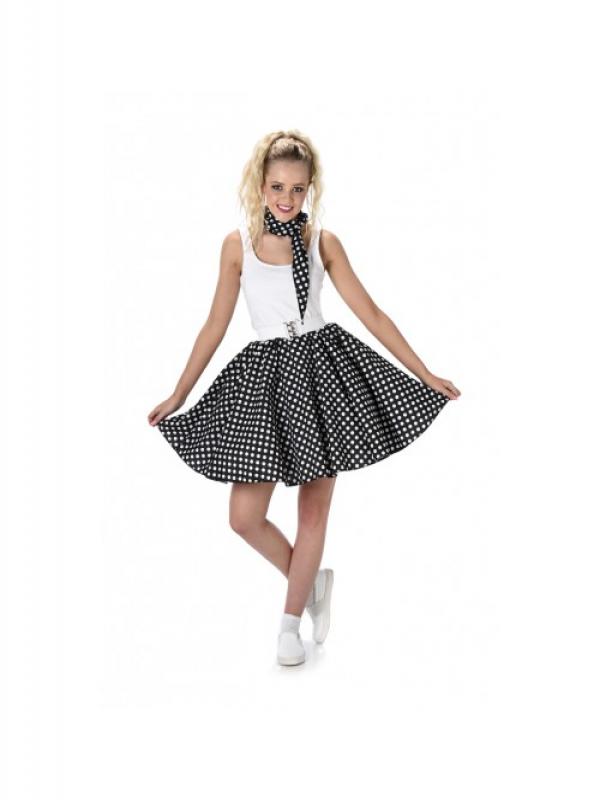 Black Polka Dot Skirt & Necktie