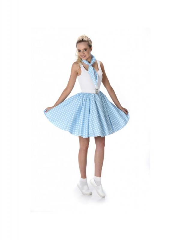 Turquoise Polka Dot Skirt & Necktie