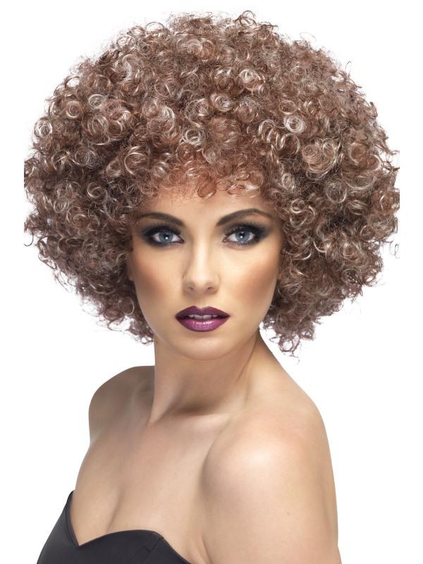 Afro Pruik Blond/Bruin