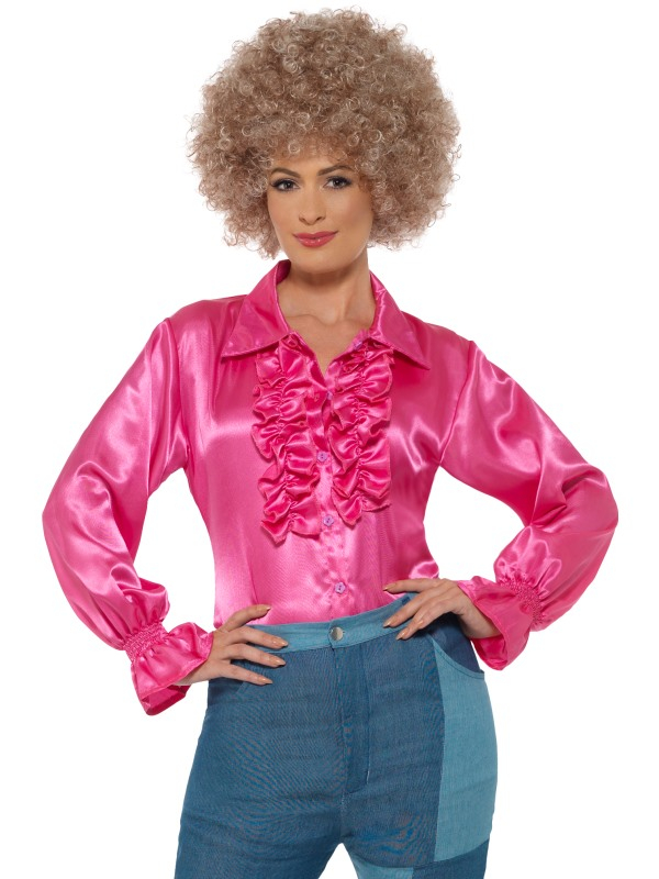 Satin Ruffle Blouse Dames Roze