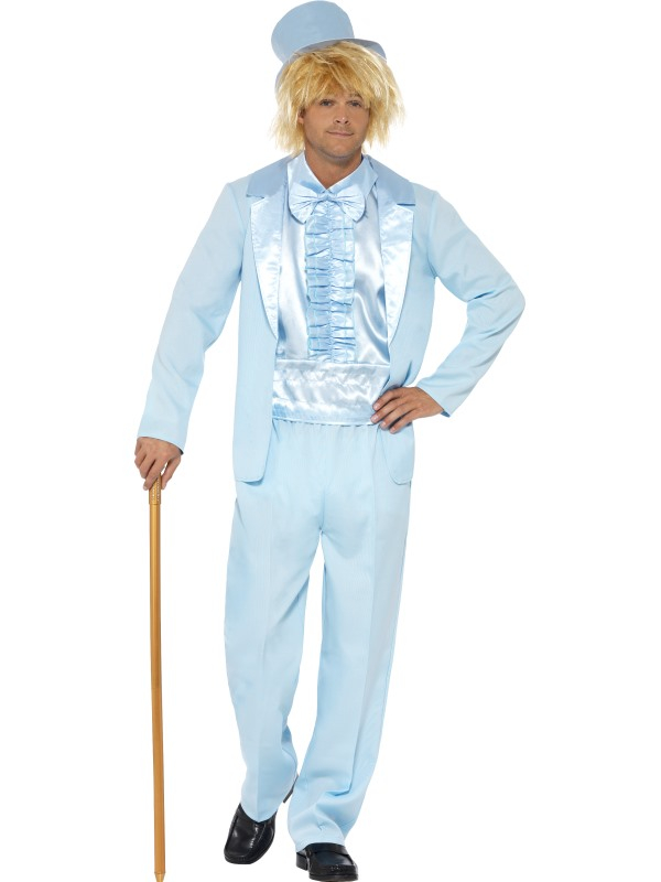 90s Stupid Tuxedo Kostuum Blauw