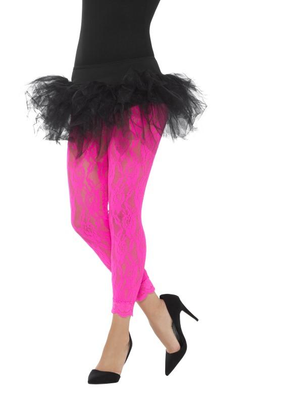 80s Lace Legging Neon Roze