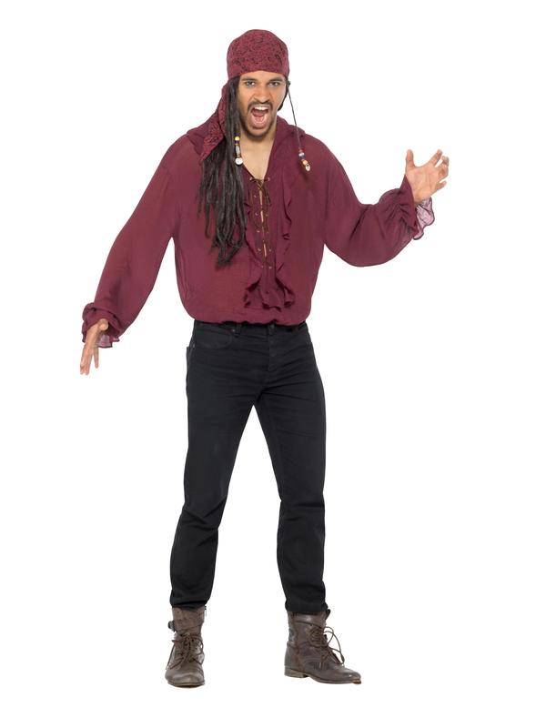 Piraten Shirt Heren Bordeaux Rood