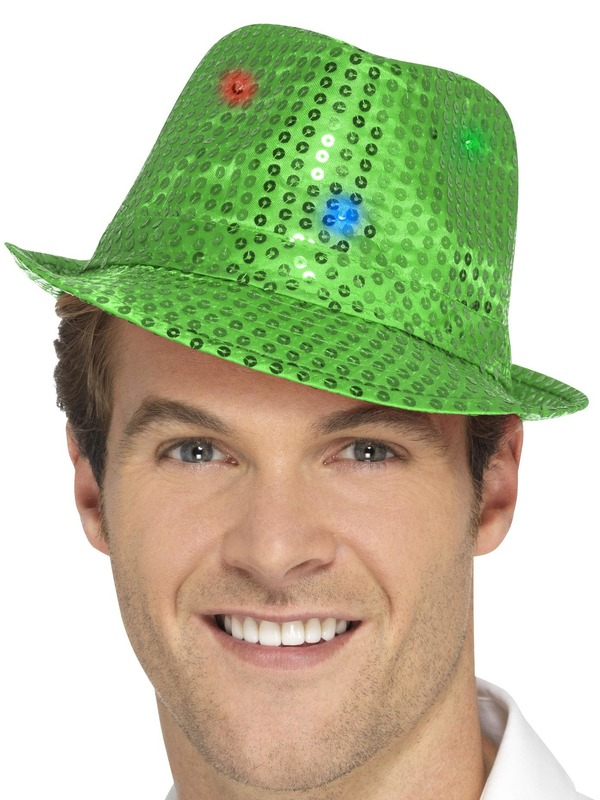 Light Up Sequin Trilby Hoed Groen