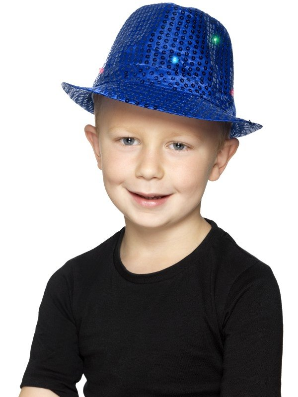 Light Up Sequin Trilby Hoed Blauw Kids