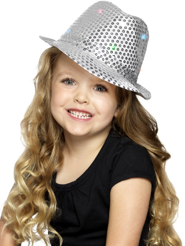 Light Up Sequin Trilby Hoed Zilver Kids