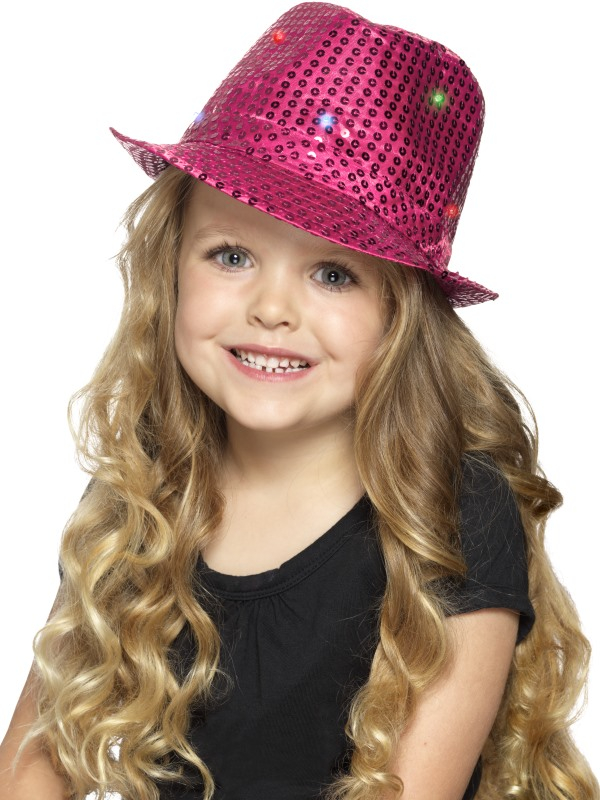 Light Up Sequin Trilby Hoed Roze Kids