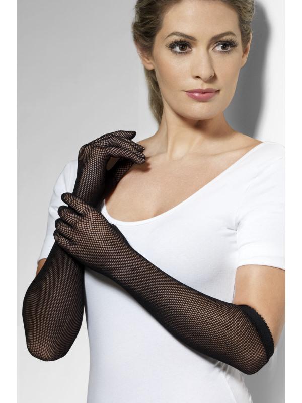 Fishnet Handschoenen Zwart Lang