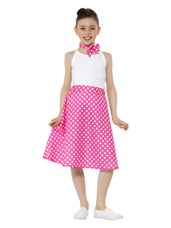 Kids 50s Polka Dot Skirt Roze