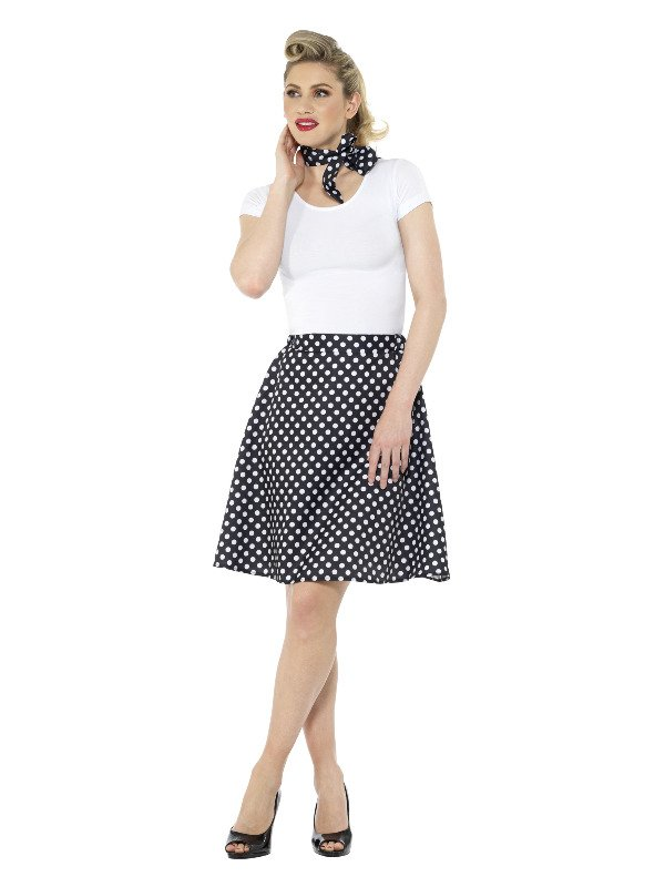 Adults 50s Polka Dot Skirt Zwart