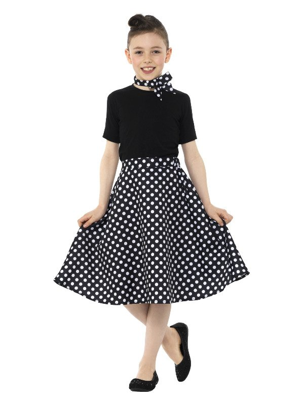 Kids 50s Polka Dot Skirt Zwart
