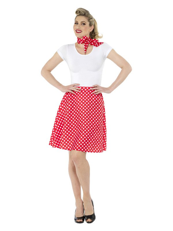 Adults 50s Polka Dot Skirt Rood