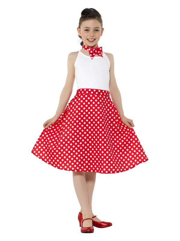 Kids 50s Polka Dot Skirt Rood