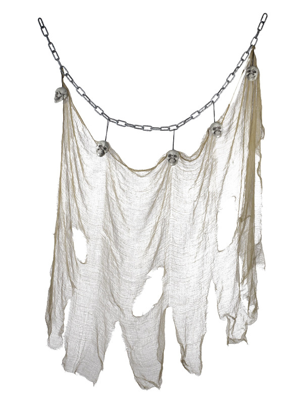 Hanging Skull & Muslin Chain Halloween Decoratie