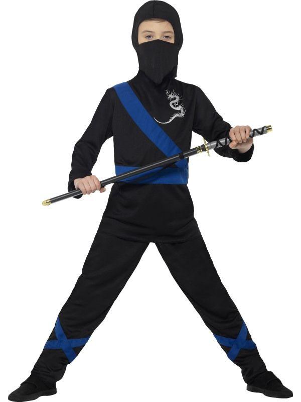 Ninja Assassin Kostuum Zwart/Blauw