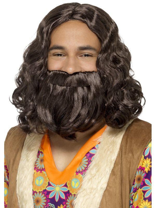 Hippie/Jesus Pruik/Baard Setje