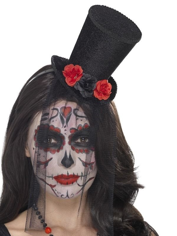 Day of the Dead Mini Top Hoed op Haarband