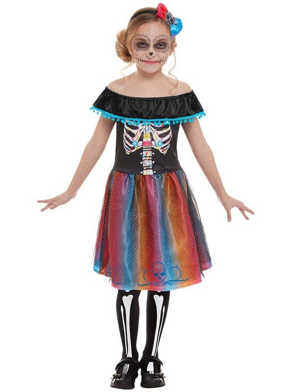 Neon Day of The Dead Girl Kinder Kostuum