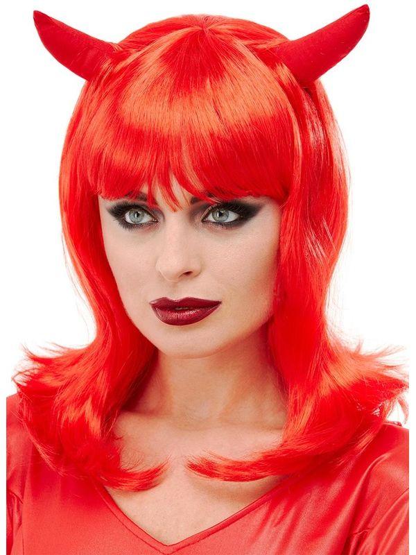 Devil Lady Pruik met Hoorntjes