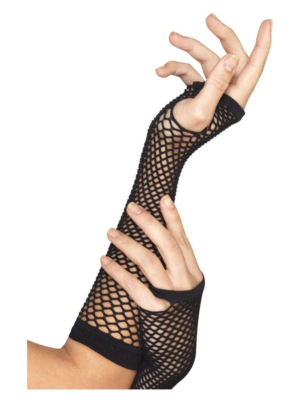 Zwarte Fishnet Handschoenen