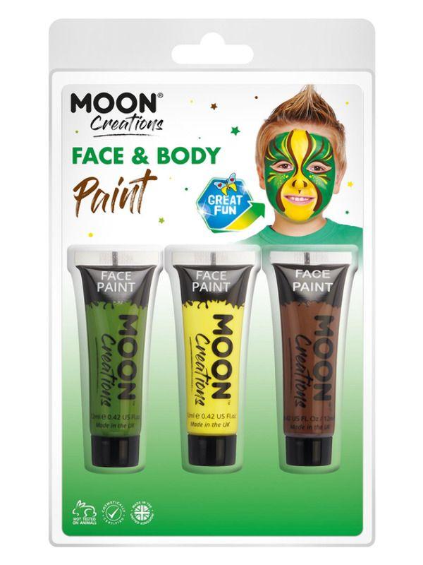 Moon Creations Face & Body Paint Geel/Groen/Bruin
