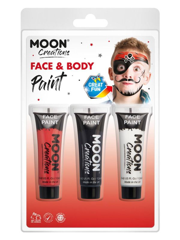 Moon Creations Face & Body Paint Rood/Zwart/Wit