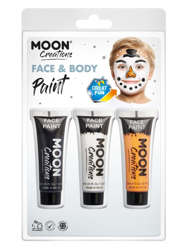 Moon Creations Face & Body Paint Zwart/Wit Oranje