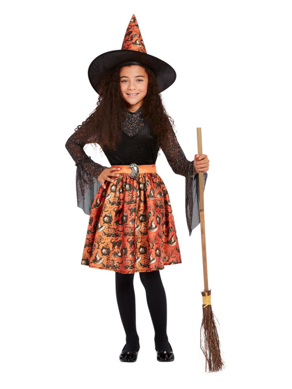 Vintage Witch Kinderkostuum, Oranje