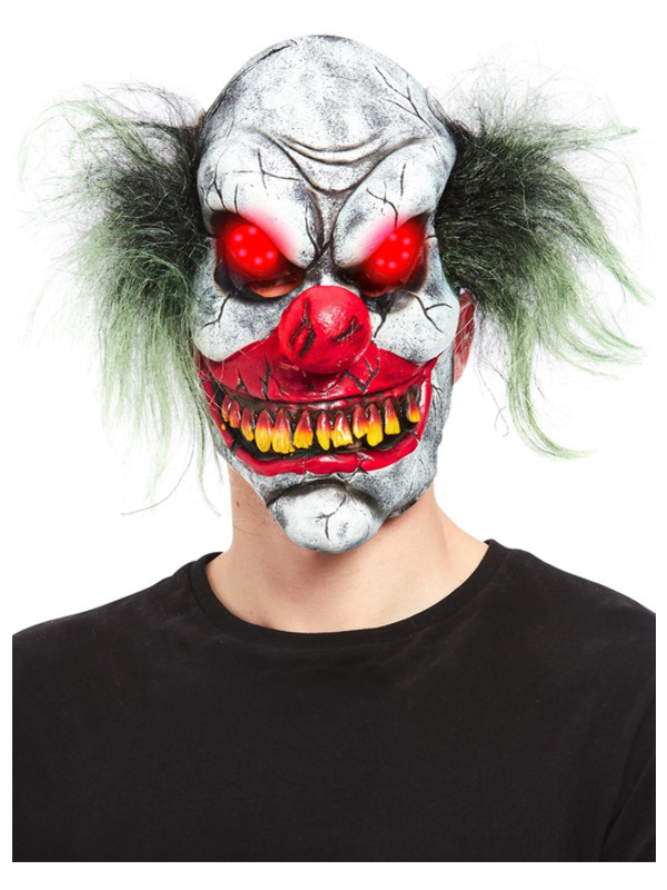 Evil Clown Overhead Light up Eyes Masker, Latex