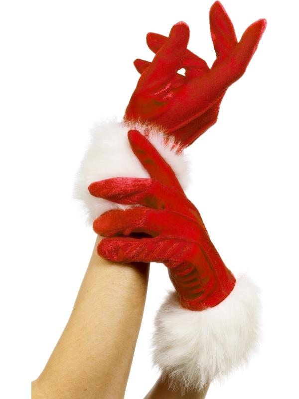 Rode Korte Kersthandschoenen met Bont