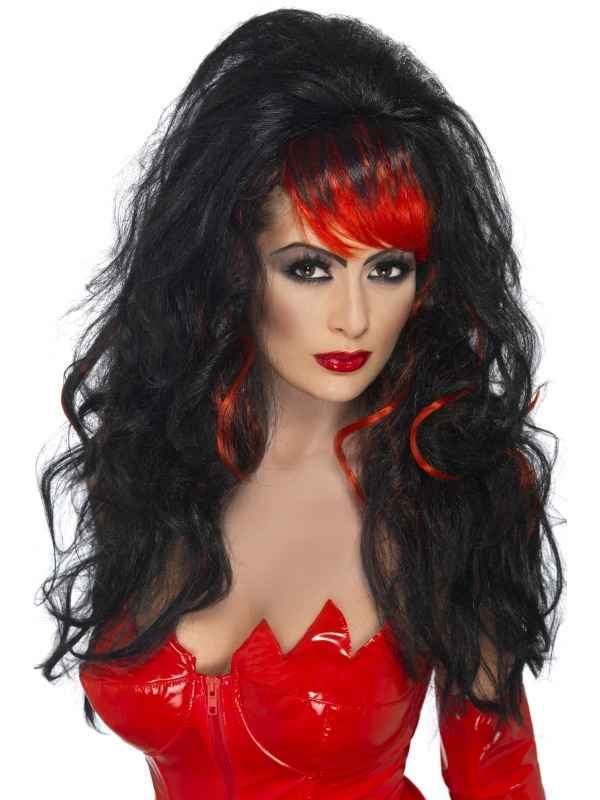Rood Zwarte Seductress Pruik
