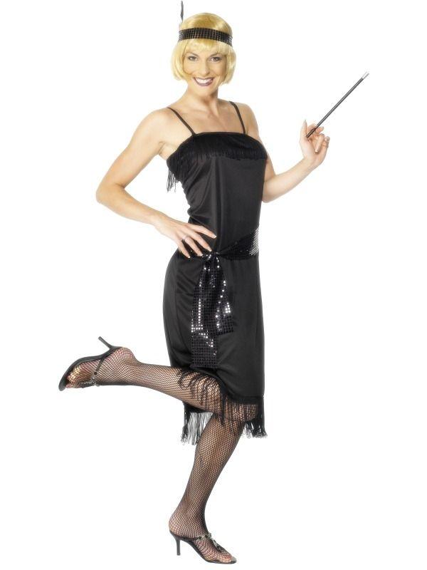 Zwarte 1920's Flapper Dress Kostuum