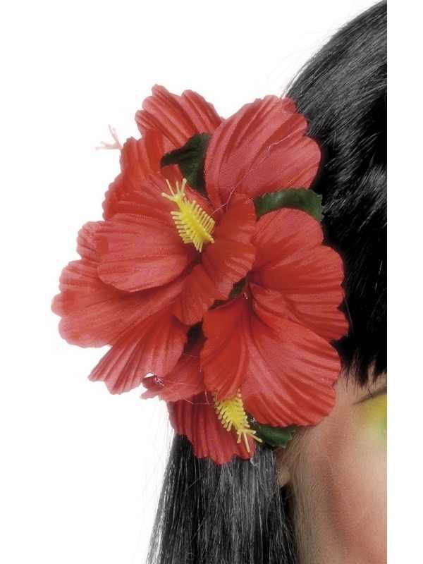 Rode Bloem Hawaii Haarclip