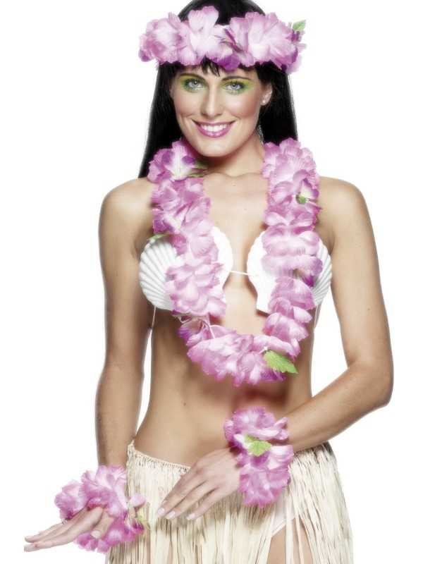 Roze Hawaii 4-delige Set