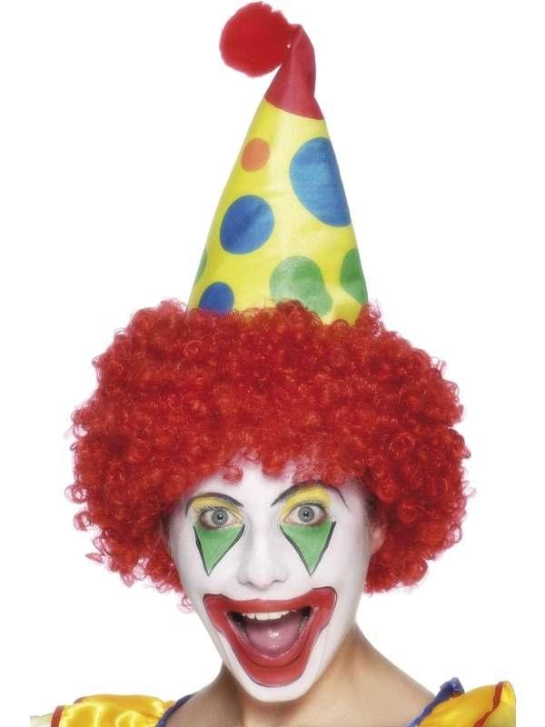 Rode Clown Pruik en Gekleurd Hoedje