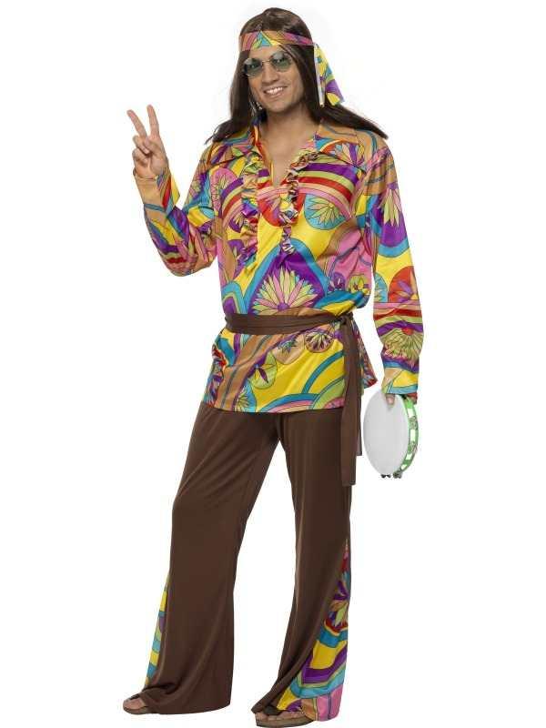 Hippie Gekleurd Heren Verkleedkleding