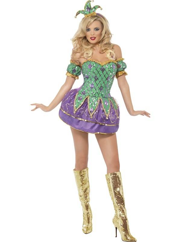 Fever Harlekijn Glitter Dames Kostuum