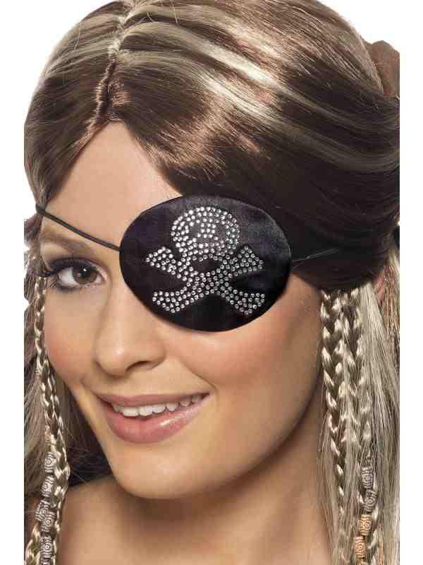 Zwart Piraten Ooglapje met Steentjes