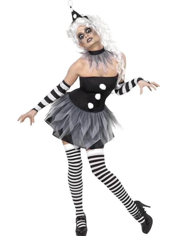 Sinister Pierrot Clown Halloween Kostuum