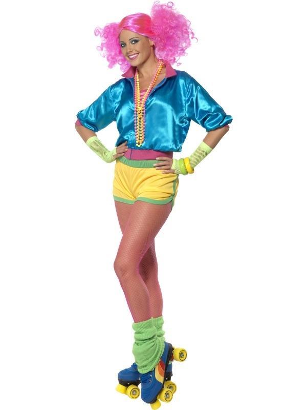 Skater Girl Neon Dames Kostuum