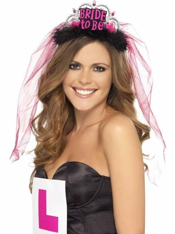 Bride To Be Tiara met Sluier Zwart/ Roze