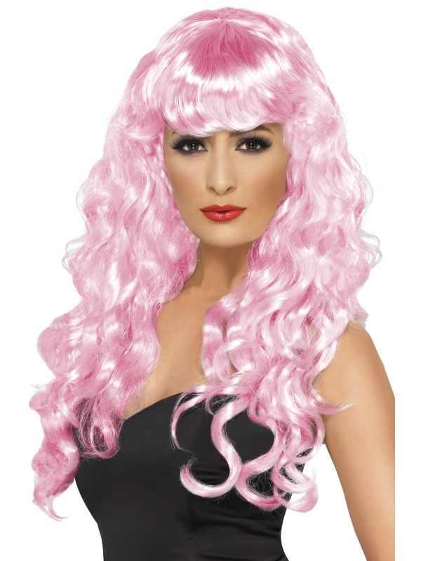 Roze Lange Siren Pruik