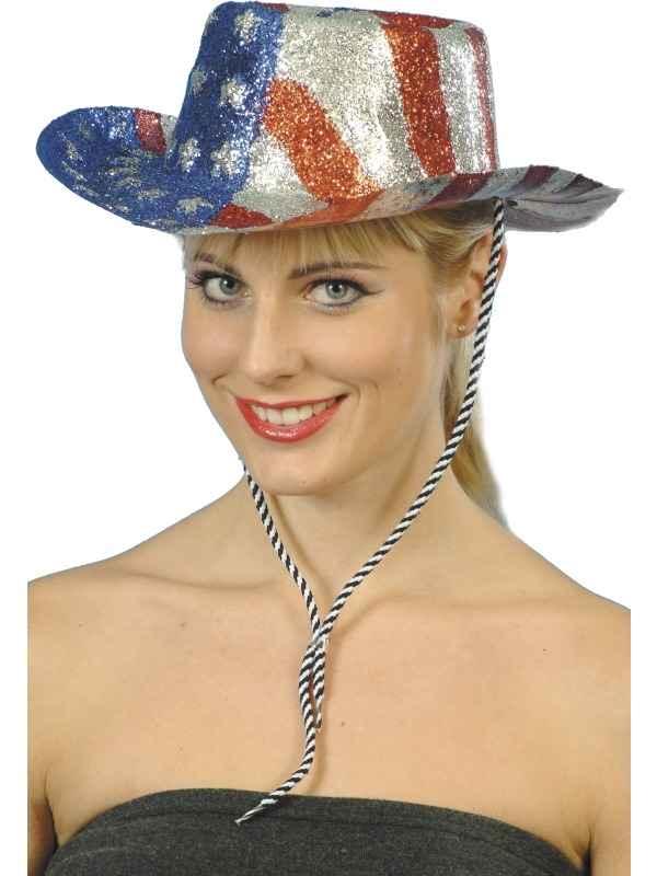Cowboy Glitterhoed met Amerikaanse Vlag
