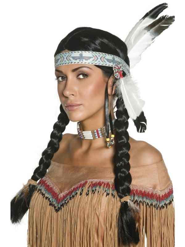 Mooie Indianen Pruik met Vlechten