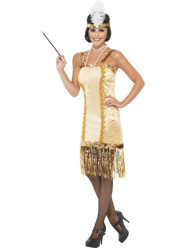 Gouden Charleston Flapper Verkleedkostuum