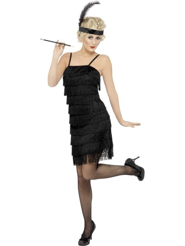 Zwarte Fringe Flapper Kostuum